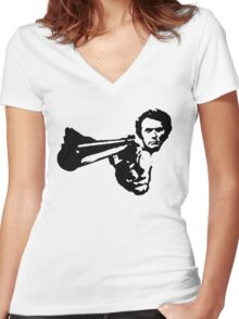 a dirty harry t-shirt Women's Fitted V-Neck T-Shirt