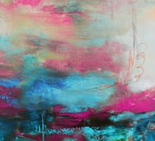 Aqua Pink Abstract Print from Original Painting  Sticker