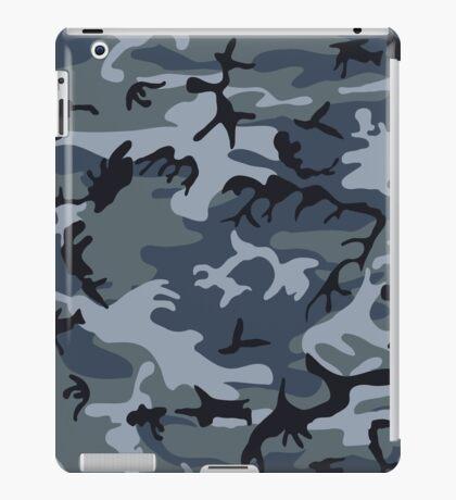 Navy Blue Grey Camo Camouflage iPad Case/Skin