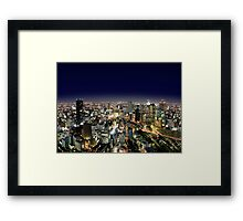 Osaka by Night - Japan Framed Print