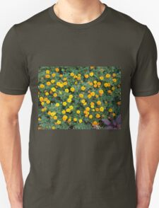Top view of a big flower bed of yellow flowers T-Shirt