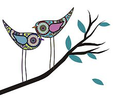 Retro Bird Art 2 Paisley Birds On Tree Branch by gailg1957