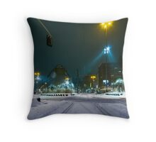 snow fall night scene Throw Pillow