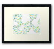 Geometric landscape green ochre drawing Framed Print