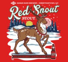 Rudolph's Red Snout Stout. A Christmas Brew One Piece - Short Sleeve