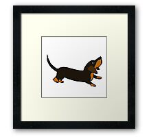 Playful Crouching Dachshund Puppy Dog Original Art Framed Print