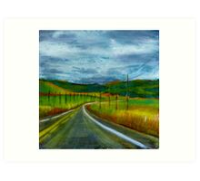 Road Trip, mixed media on canvas Art Print