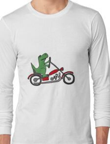 Cool Funny T-Rex Dinosaur Riding Red Motorcycle Long Sleeve T-Shirt