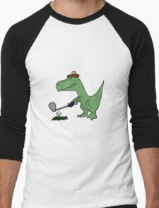 Cool Funky Green T-Rex Dinosaur Playing Golf Men's Baseball ¾ T-Shirt