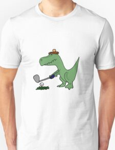 Cool Funky Green T-Rex Dinosaur Playing Golf Unisex T-Shirt