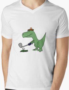 Cool Funky Green T-Rex Dinosaur Playing Golf Mens V-Neck T-Shirt