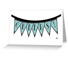 Manhattan 1920s Deco Blues Banner… CHEERS! Greeting Card