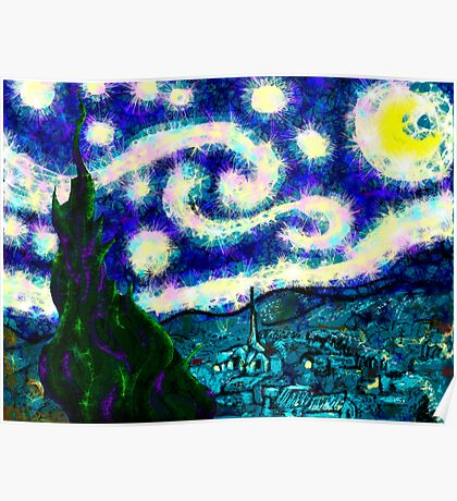 a scribbler starry night Poster