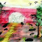 Bridge over walking path, watercolor by Anna  Lewis, blind artist