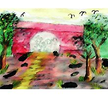 Bridge over walking path, watercolor Photographic Print