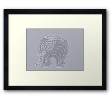 Lacy gray doodle elephant in gray Framed Print