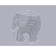Lacy gray doodle elephant in gray Photographic Print