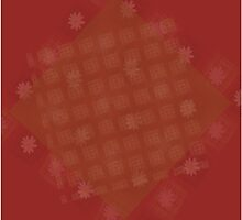 Abstract maroon background with squares and flowers by Ludmilka