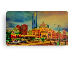 Oil Painting on Canvas of Flinders Street Station - Melbourne, Victoria Metal Print