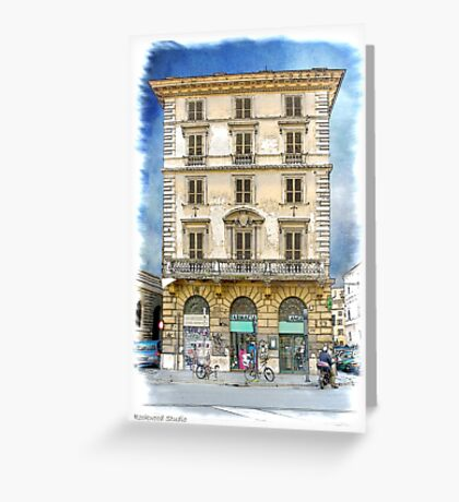 Pen and Wash Building (Digital) Greeting Card