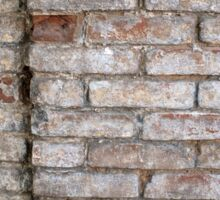 Fragment of a wall of an old red brick with white coating Sticker