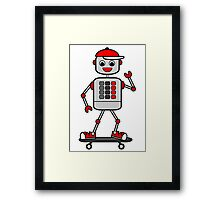 Cartoon Robot Boy on Skateboard Framed Print