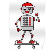 Cartoon Robot Boy on Skateboard Poster