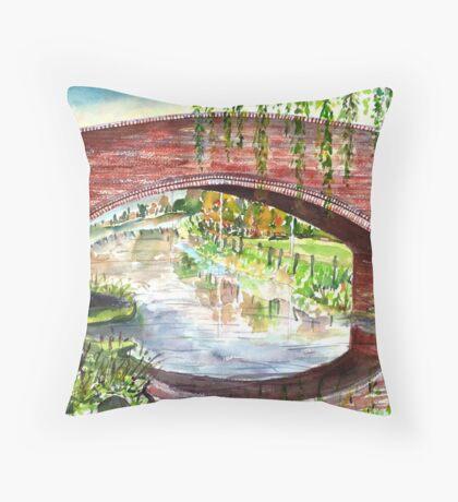 Willow Bridge - Oxford Canal Throw Pillow