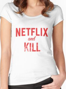 Netflix and Kill - White Edition Women's Fitted Scoop T-Shirt