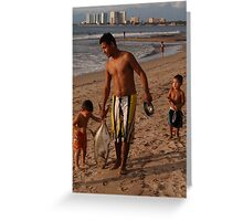Little fishermen - kids with their father Greeting Card