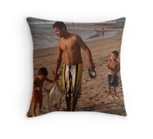 Little fishermen - kids with their father Throw Pillow