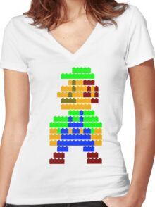 8-bit brick Luigi Women's Fitted V-Neck T-Shirt