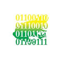 frog binary code reptile design by Veera Pfaffli
