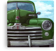 Vintage 50's Green Ford - oil painting Canvas Print