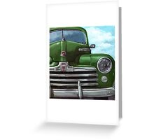 Vintage 50's Green Ford - oil painting Greeting Card