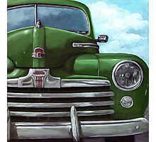 Vintage 50's Green Ford - oil painting Photographic Print
