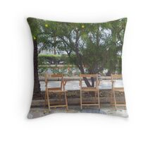 chatting chairs Throw Pillow