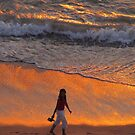 Golden reflections on the surf by Bernhard Matejka
