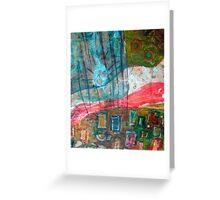 aqua red landscape Greeting Card
