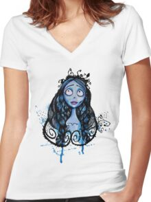 Watercolor Corpse Bride Women's Fitted V-Neck T-Shirt