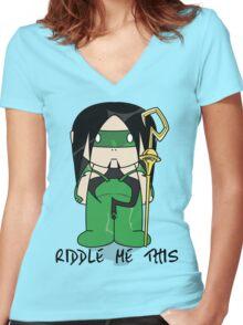 Riddler - Riddle Me This - Minifolk Design Women's Fitted V-Neck T-Shirt