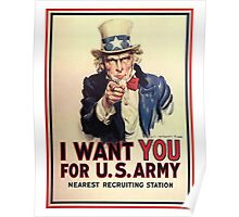 America, American, I Want You! Uncle Sam Wants You, USA, War, Recruitment Poster Poster