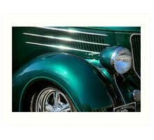 Hot Chrome and Metallic Green Art Print
