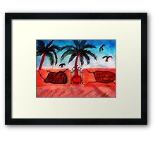 The old pink  wall  1# , series, watercolor Framed Print