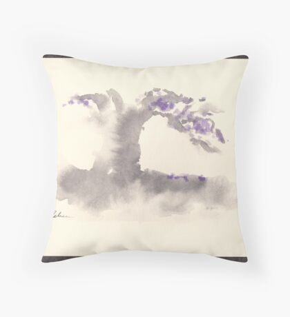 """Morning Mist""   Sumi e wash painting Throw Pillow"