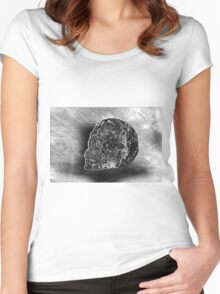 Black And White Skull Women's Fitted Scoop T-Shirt