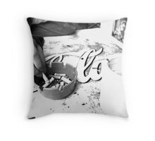 Tobacco and Caffeine (black and white) - Spider House, Austin, TX Throw Pillow