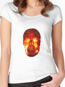 Hot Headed Skull On Transparent Background Women's Fitted Scoop T-Shirt