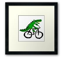 Funky Cool Alligator Riding Bicycle Framed Print