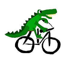 Funky Cool Alligator Riding Bicycle Photographic Print